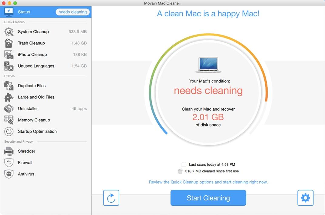 Movavi System Cleaner & Antivirus 1.0 Multilingual Mac OS X