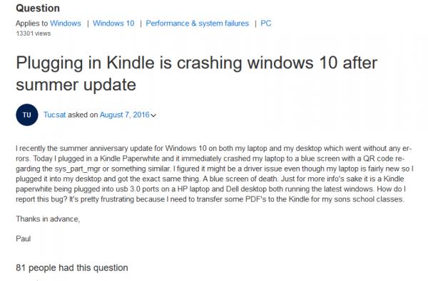 Windows 10周年更新版插入Kindle会导致蓝屏死机