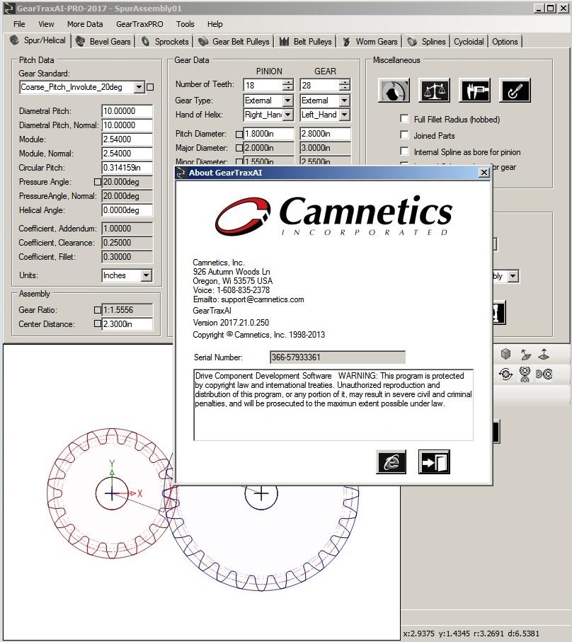 Camnetics Suite 2017 - 齿轮生成插件套装