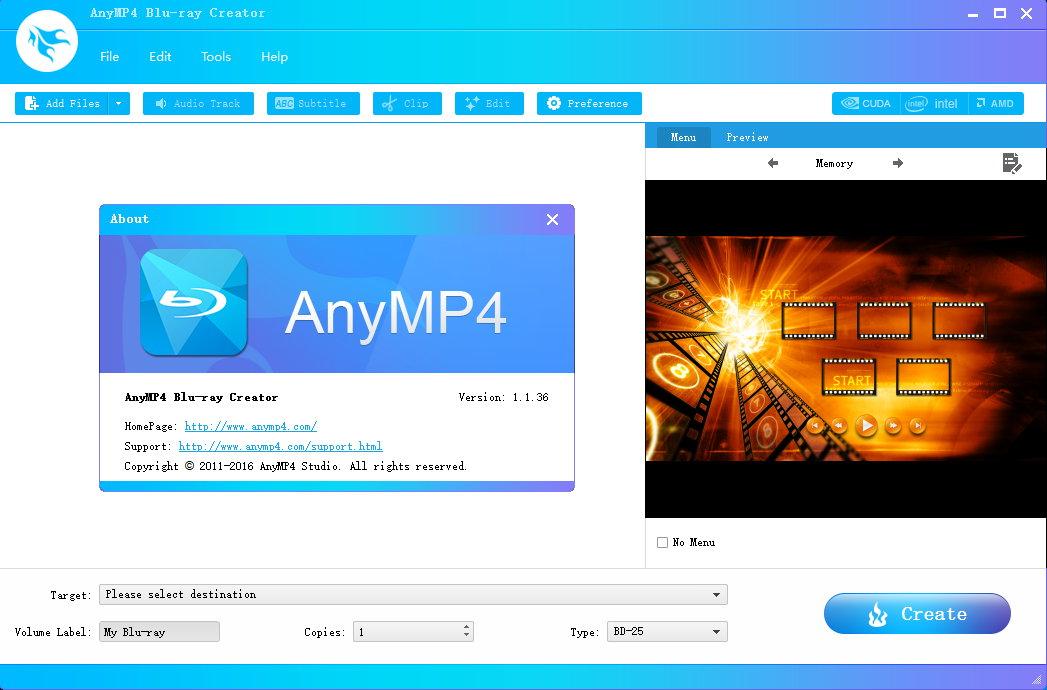 AnyMP4 Blu-ray Creator 1.1.36 注册版-Blu-ray蓝光制作