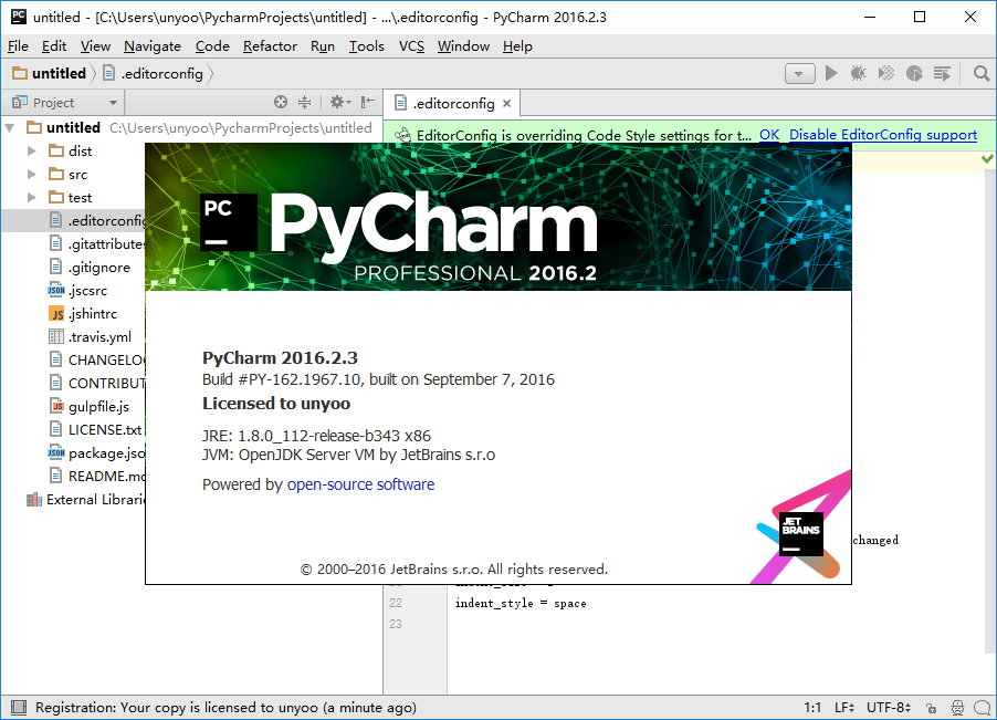 JetBrains PyCharm Professional 2016.2.3 注册版-python开发工具