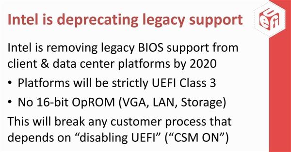 Intel决定2020年封禁UEFI兼容模式:Windows 7系统将无法启动
