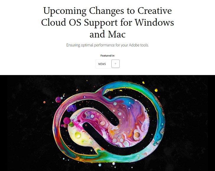 Adobe官方表示将停止支持旧版:Windows 8.1/10和macOS 10.11操作系统