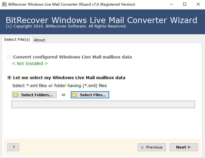 BitRecover Windows Live Mail Converter Wizard 7.0 注册版